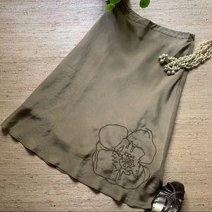 Banana Republic Embroidered Silk A-line Skirt